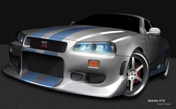 Nissan Skyline Digital Drawing by Flame-X