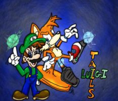 Tails and Luigi- Thunder Pals by spongefox