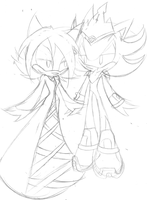 AT: (scetch) Sky and King shadow by shadowthehedgehog109