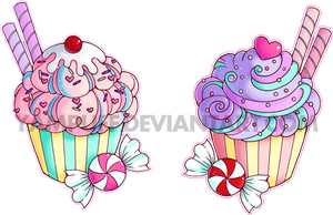 Double Cupcake Commission by YamPuff
