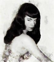 Bettie Page - Sultry by DanielMurrayART