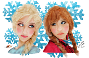 Frozen Anna and Elsa by Erkillers
