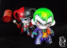 Joker and Harley Mini Munnys by FullerDesigns