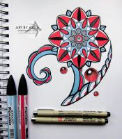 Tattoo sketch. Mandala, dotwork and color. by AsikaArt