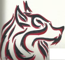 Red and Black Tribal Wolf tattoo by Tazimo