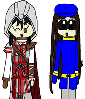 CG: Flopiz as Ezio and Wing as Sly by angelthewingedcat