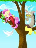 Discord and Fluttershy, Sitting in a Tree by CatScratchPaper
