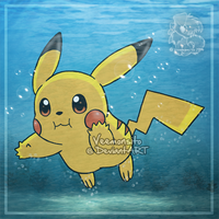 Pikachu underwater by Veemonsito