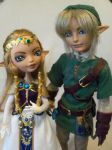 Link and Princess Zelda (Custom EAH dolls) by mourningwake-press