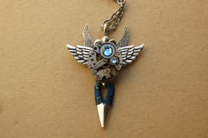 Steampunk sky sword necklace by LsUnique