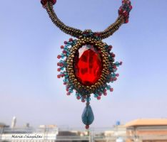 Copper and Red Necklace by mariachughtai
