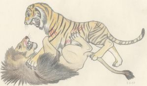 Barbary Lion vs Caspian Tiger by Dark-Hyena