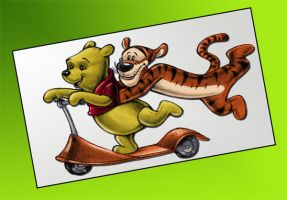 Pooh And Tigger Coloured. by Highlander0423