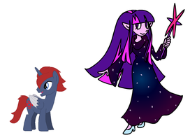 Crossover AU Alpha and Twilight by JanethePegasus