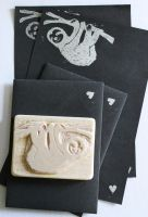 Handmade Sloth stamp/and letter set by izibel1