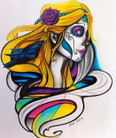 Day of the Dead Girl with bird by knezak