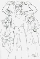 Erika and her brothers by LadyRosse