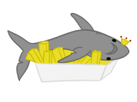 sad shark with a side of fries by mzza-art