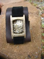 Steampunk Leather Cuff by bcainspirations