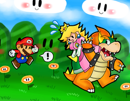 bowser secuestra a la peach by marshie-chan