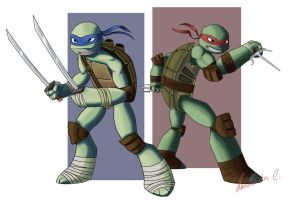 TMNT Leo and Raph by Anastas-C