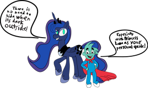 Princess Luna and Pajama Sam WIP by artmagetommy