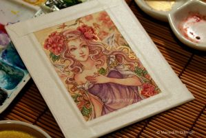 Pink Peony ACEO by MeredithDillman