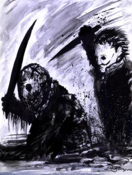 Jason Voorhees vs Michael Myers paint and brush by DougSQ