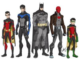 bat family young justice style. by robert023