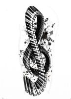 Tattoo series - Violin/piano key by StereoiD