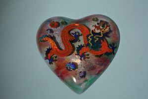 Chinese Dragon Resin Heart by bluepaws21