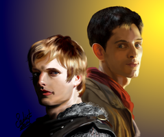 Arthur and Merlin by Sadict