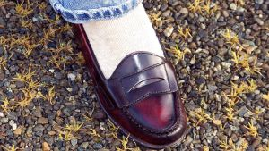 Nadia's First Penny Loafers Age 14 Cordovan Dexter by peerlesspenny