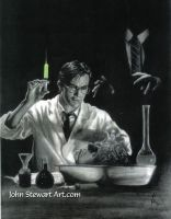 Reanimator Charcoal  Watercolor portrait for sale by johnstewartart