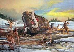 Mammoth hunting ice age by Sedeslav