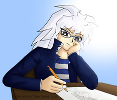 Bakura Does Not Enjoy School. by diemechon7