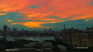 Sunset over Nile Cairo 121312 by meriwani