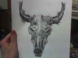 Bull Skull Tattoo by cassiestep202