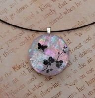 Pink Butterfly Orchid Glass by FusedElegance