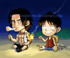 Ace + Luffy - The Campfire. by Sephirona