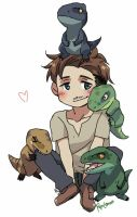 JurassicWorld - Owen and Raptors by OokamiRenLemon
