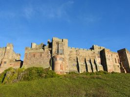 Bamburgh Castle Background stock 1 by Queenselphie