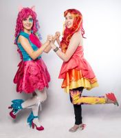 Rainbow Rocks Pinkie Pie and Sunset Shimmer by pinkiespartycannon12