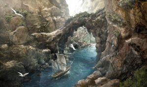 The Aquila entering a narrow passage by OrochimaruXDD