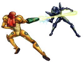 Samus vs Sylux by SebWoodland
