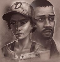 Clementine and Lee (The Walking Dead The Game) by Vicdakras