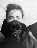 Woman with puppy by clippercarrillo