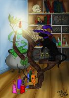 Witches Cat And The Magic Book by crochetamommy