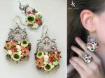 Window To Summer silver floral set by JSjewelry