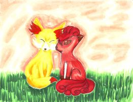 Fennekin and Vulpix Love by XxmimixX2